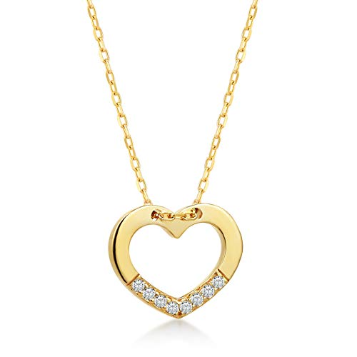 14k Solid Gold 0,02 ct Diamond Heart Chain Pendant Necklace, Surprise Fine Jewellery for Women, 18 Inch