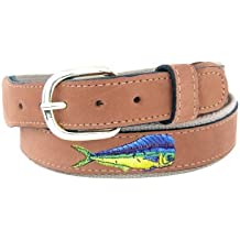 Zep-Pro Men's Tan Leather Embroidered Dolphin Belt
