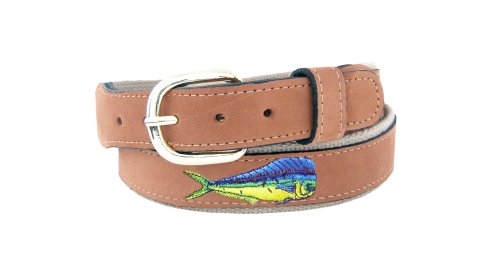 ZEP-PRO Men's Tan Leather Embroidered Dolphin Belt, 36-Inch, Tan/Buff