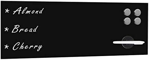 Festnight Magnettafel Magnetboards Memoboard Wandmontage Glas Wandtafel Magnetwand 60 x 20 cm Schwarz