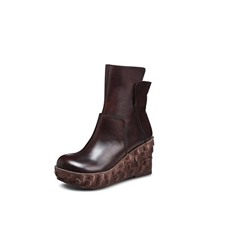 light Slope with Warm and add cashmere Genuine Leather Women Bootie Side zipper Retro Martin Boots BROWN-37