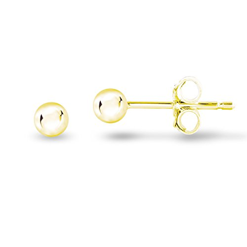 14k Yellow Gold Plated 925 Sterling Silver Plain Smooth Round Bead Ball Stud Earrings, 3mm -