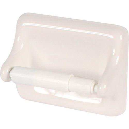 Apple Creek Standard Ceramic Bathroom Toilet Paper Holder, White Ceramic Toilet Tissue Holder