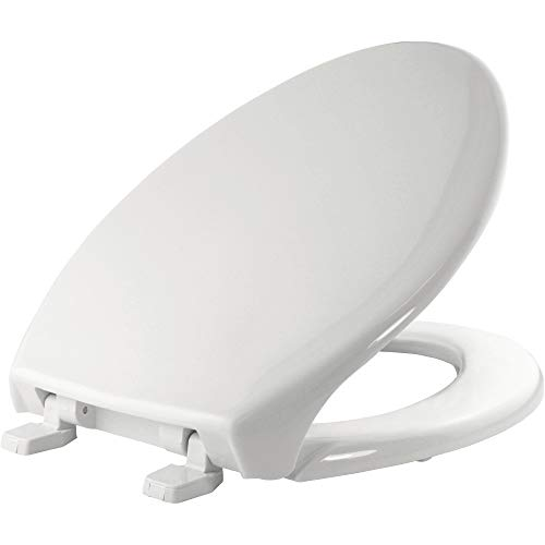 Bemis 1900 000 Commercial Heavy Duty Closed Front Toilet Seat without Cover and No Slam Hinges, ELONGATED, Plastic, White