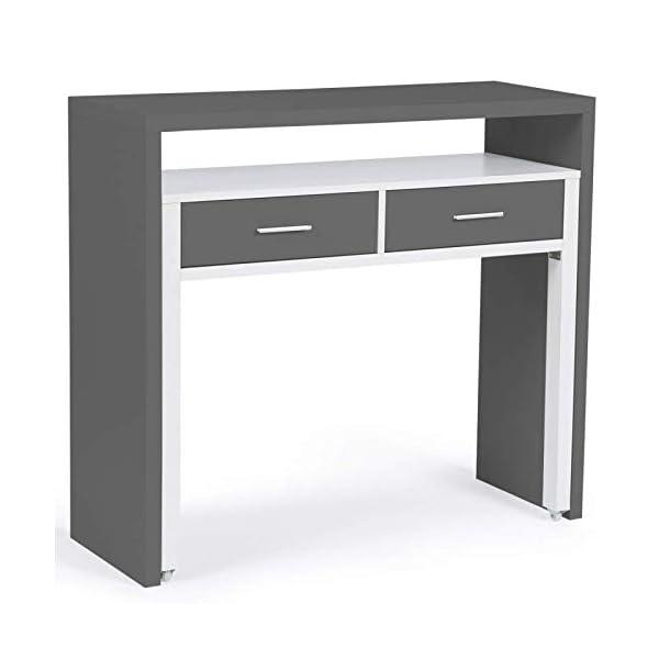 IDMarket – Bureau extensible MAX bois blanc et gris