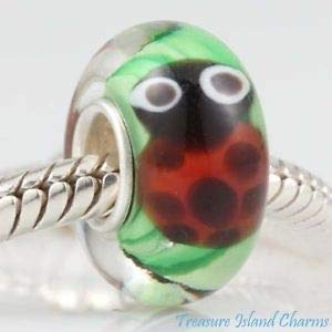 Harissa Ladybug LAMPWORK Murano Glass 925 Sterling Silver European Bead Charm Crafting, Bracelet Necklace Jewelry Findings Jewelry Making Accessory