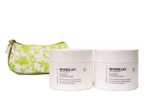 Serious Skincare Reverse Lift with Argifirm Facial Firming Pads DUO (2) 60 Count with Green Toile Print Cosmetic Bag