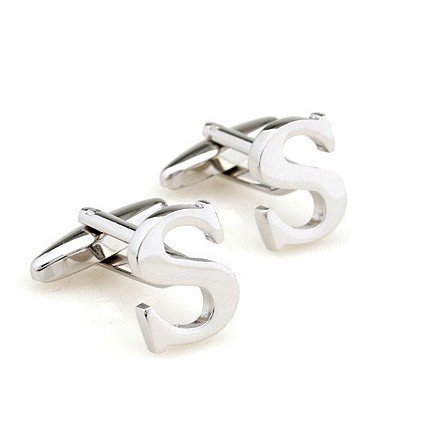 (S) Initial Cufflinks Personalized Silver Colour Capital (A-Z Available) Letter Cufflinks Men Women Cuff Links (S) ()