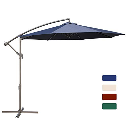 HASLE OUTFITTERS Offset Patio Umbrella 10FT Cantilever Umbrella Outdoor Market Umbrella Hanging Umbrella with Cross Base Navy (Make Patio Umbrella Base)