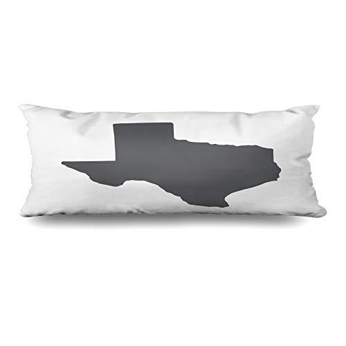 Ahawoso Body Pillows Cover 20x60 Inches Austin Texas Grey State Border Map San Dallas Houston Texan Antonio Design Decorative Zippered Pillow Case Home Decor -