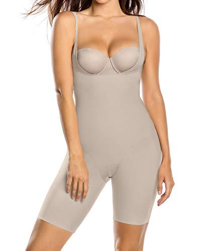 Leonisa Undetectable Edge Mid-Thigh Bodysuit Shaper,Beige,X-Large