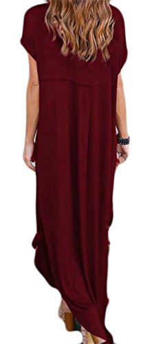 Neck V Maxi Claret Womens Knot Slit Sleeve Solid Cruiize Short Irregular Dress qHtTgwIwxU
