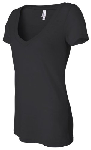 Bella Ladies Simone Burnout V-Neck Short- Sleeve T-Shirt. 8605 - Medium - Black
