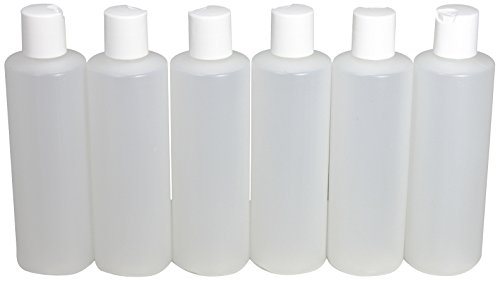 8 Ounce Flip Top - 8 Oz Plastic Squeeze Bottles with Disc Top Flip Cap Set of 6 Empty by Pinnacle Mercantile