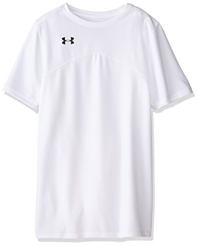 Under Armour Boys' Golazo Soccer Jersey, White (100)/Black, Youth Medium