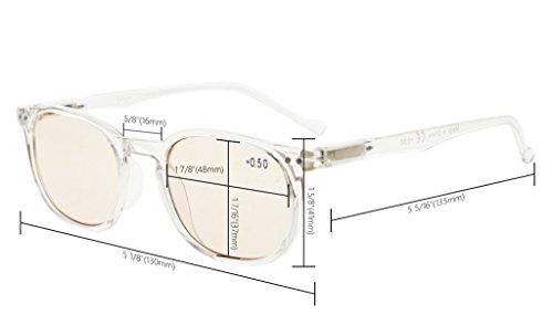 Eyekepper Vintage UV Protection Reading Glasses with Anti reflective Coating 0.50 Strength Readers(Amber Tinted Lens-Transparent) by Eyekepper (Image #2)
