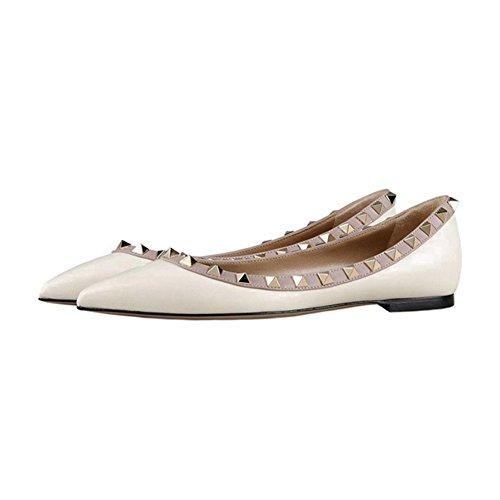 Matte Spikes Spitz Schuhe Damen White Ballerinas Wohnungen EKS Flat Heels RzwqO