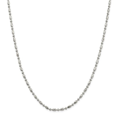 Lex & Lu Sterling Silver 3mm Polished Round & Textured Oval Bead Chain Necklace ()