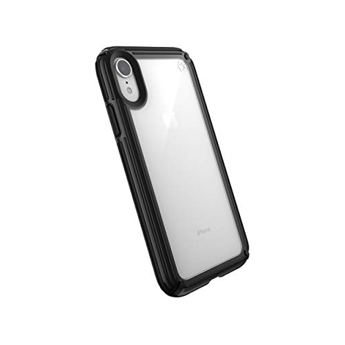 Speck Products Compatible Phone Case for Apple iPhone XR, Presidio V-Grip Case, Clear/Black
