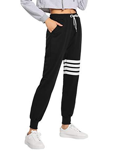 SweatyRocks Women's Pants Color Block Casual Tie Waist Yoga Jogger Pants Black #16 S ()