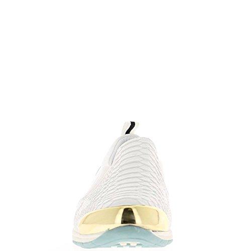 zapatillas bi punta blanca materia Cuña oro mujer Cxq5wnU4