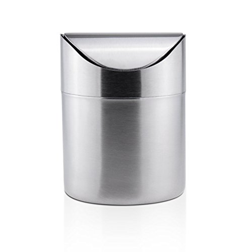Sanmersen Mini Stainless CounterTop Trash Can with Lid,Small Desk Trash Can Recycling Trash Bin Kitchen Desktop Bathroom Office Wastebasket 1.5 L / 0.40 Gal - Bin Tabletop