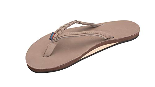 Rainbow Sandals Women's Flirty Braidy Premier Leather w/Single Braided Strap, Dark Brown, Ladies Medium / 6.5-7.5 B(M) US