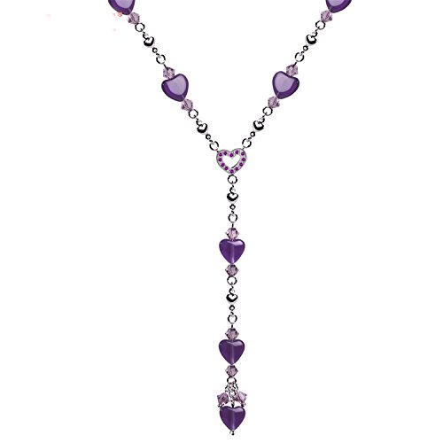 spyman Natural Gemstone Necklace Fine Steel Chain Sweet Heart Shape Pendant Necklaces With Amethyst Fine Jewelry For Woman Purple ()