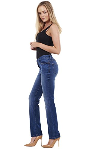 Jeans Plus Leg Womens Ladies Cotton Regular Size Medium Store Straight Famous Denim Blue Stretch Fit Pants Ex UYFxqn7X