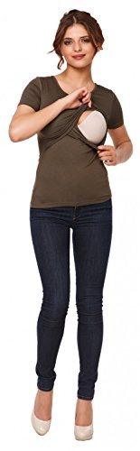 Happy Mama. Mujer top camiseta premamá lactancia cuello redondo doble capa. 991p Caqui