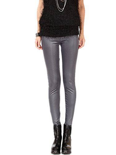 Coffeepop de mujer Fashion diseño de piel sintética elástico ajustado Leggings gris