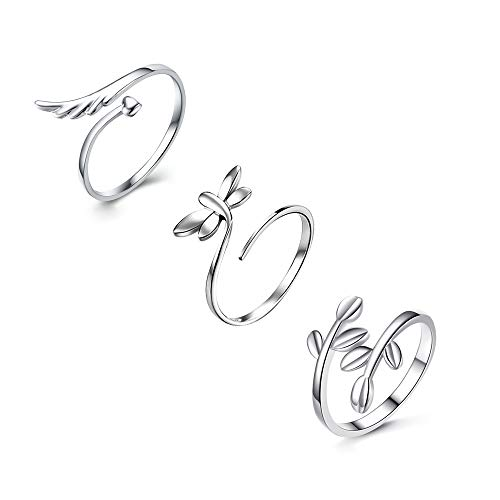 Q﹠YFH 3Pcs Adjustable Wing Leaf Dragonfly Rings Set for Women Luckly -