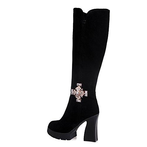 Nine Seven Cuero Moda Puntiagudos Botas Largas Negro de Tacón de Grueso con Cremallera de Invierno para Mujer negro