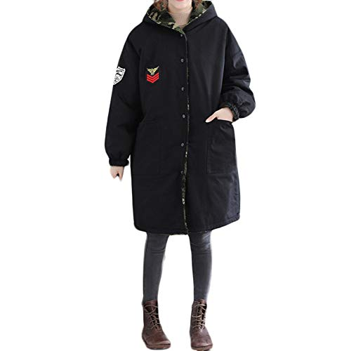 S-trim Supercharger - Limsea Women Both Side Wear Coat,Plus Size Winter Camouflage Printing Easy Long Loose Jacket