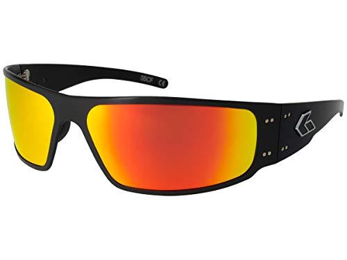 Gatorz Eyewear, Mugnum Model, Aluminum Frame Sunglasses - Black/Sunburst Mirror Polarized Lens