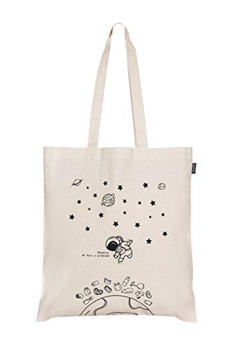 EONO tote bag tela Eco-Friendly bolsa de algodon bolso de tela mujer de ultramarinos de bolso de reutilizable linda bolsas para niñas - Impreso Houston, tenemos un problema - (Natural) | 0101B01