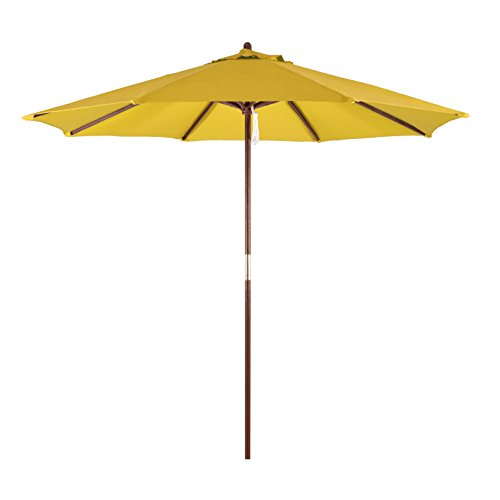 (California Umbrella 9' Round Hardwood Frame Market Umbrella, Pulley Lift, Polyester)