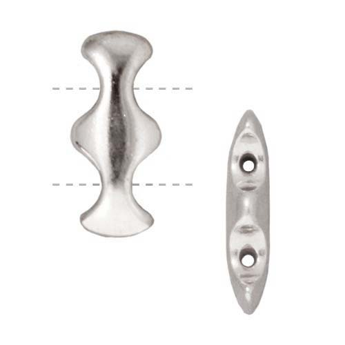 TierraCast Rhodium Plated Lead-Free Pewter 2 Hole Hourglass Strand Spacer Beads 18.5mm (2) - 2 Strand Spacer