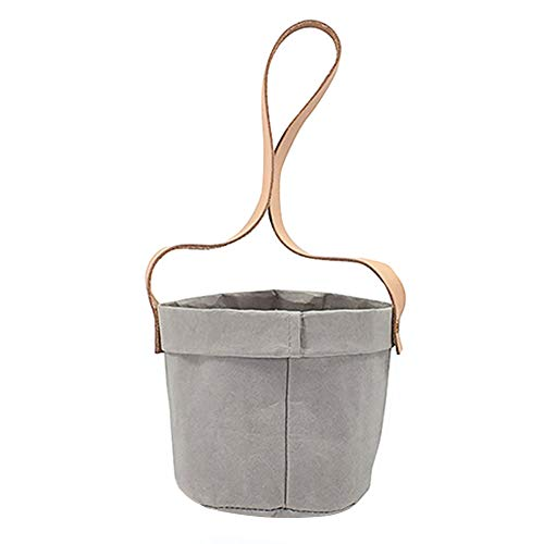 - Hanging Flower Pots, Innovative Washable Tear Resistant Kraft Paper Planter Bag With Leather Handle For Orchid Air Pineapple Succulents Cactus Green Plant - for Balcony Garden Decoration(Square,Grey)