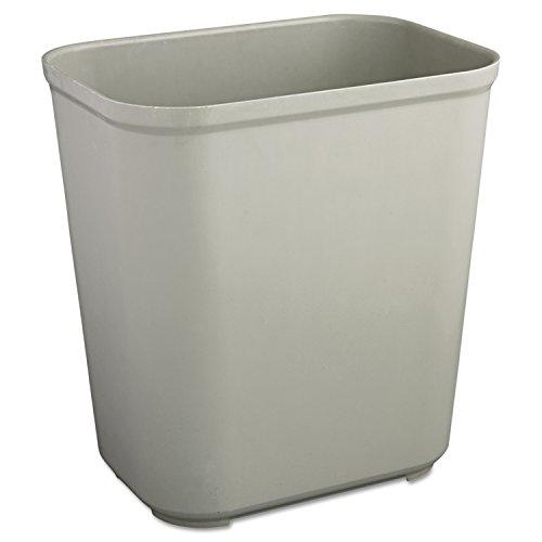 Rubbermaid Commercial 2543GRA Fire-Resistant Wastebasket, Rectangular, Fiberglass, 7 Gallon, Gray