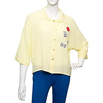 Parkhande Yellow Polyester Shirt Neck Shirts For Women