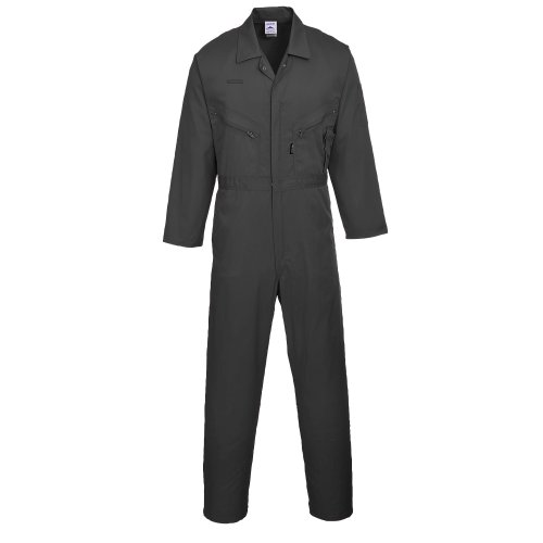 Portwest Mens Liverpool Zip Up Protective Workwear Coverall (Large x Regular) (Black) from Portwest