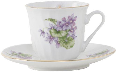 Ciera Marguerite Porcelain Tea Cup and Saucer with Gold Trim