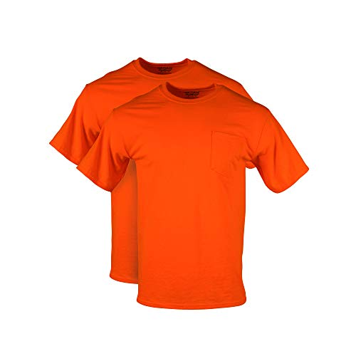 Gildan Men's DryBlend Workwear T-Shirts with Pocket, 2-Pack, Safety Orange, Large