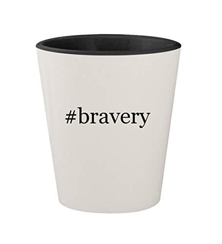 (#bravery - Ceramic Hashtag White Outer & Black Inner 1.5oz Shot Glass)