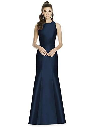 Alfred Sung Style D734 Floor Length dupioni Trumpet Skirt Formal Dress - Open Back Sleeveless Jewel Neckline - Midnight - 12 - Alfred Sung Bridesmaid Gowns