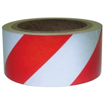 2 Inch X 30 Feet Reflective Adhesive Tape, Red and Silver Stripes Water and Weather Resistant Reflective Barricade Tape