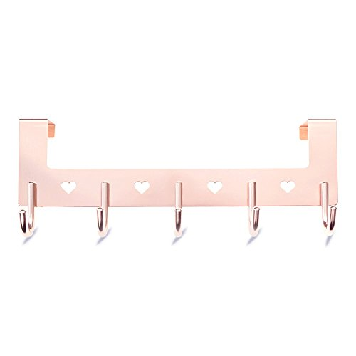 Gulevy Rose Gold Over The Door Hook Organizer Rack - 5 Hook Over Door Hanger Hook - Heavy Duty Towel Hook Set/Robe Hook Set/Clothes Hanger Rack - Rose Gold