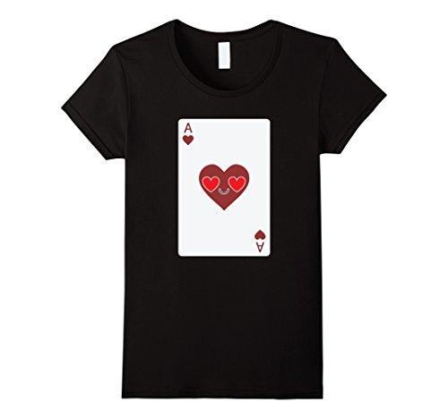[Women's Poker Card Emoji Heart & Love Eye Shirt T-Shirt Sure Win Tee Small Black] (Lucky Lady Casino Costume)