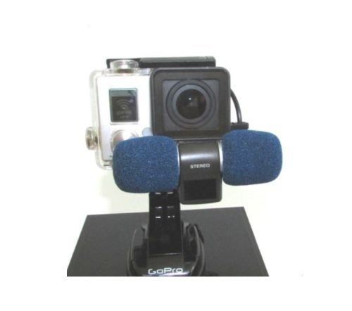 Blue Professional Microphone for GOPRO hero 3 and 4 silver black out of housing recording